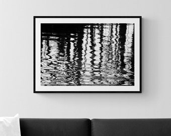 Black and White Photography, Nature Print, Photo of Refections on Water, Rustic Wall Art, Serene Picture, Woodland Photograph, Grey Tones