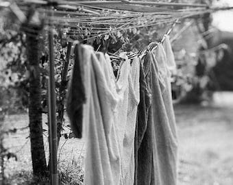Farm Print, Rustic Wall Art, Farmhouse Decor, Clothesline Photo, Laundry Photograph, Still Life, Fine Art Photography, Black, White, Grey