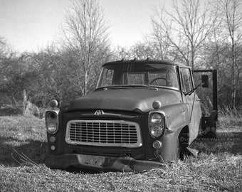 Farm Photography of a Rusty Truck in a Field , Black and White Rustic Photograph , Film Photo