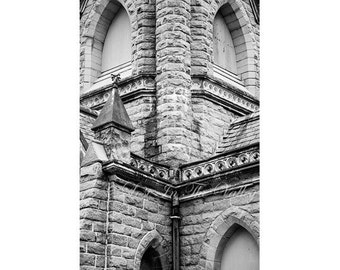 Black and White Print , Rustic Wall Decor , Church Photograph