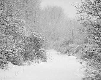 Landscape Photography, Black and White Print, Snow Photograph, Rustic Decor, Adirondack Photo, Winter Picture, Rural Scene, Wall Decor