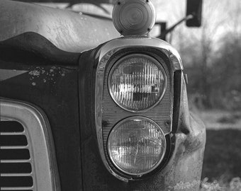 Black and White Photography of an Old Rusty Truck on a Farm, Rustic Wall Decor , Film Photograph