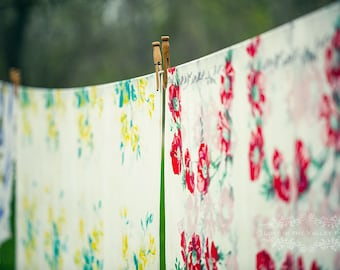 Fresh Linen Photograph, Farmhouse Decor, Rustic Wall Art, Still Life Photography, Clothes Line Photo, Flower Print, Yellow, Green, Red