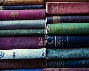 Farmhouse Decor, Still Life Photography, Rustic Photograph, Photo of Old Books, Fine Art Print, Wall Art, Picture, Blue, Green, Grey, Red