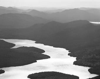 Adirondack Mountains, Landscape Photograph, Rustic Home Decor, Lake Placid Print, Fine Art Photography, Wall Art, Black and White, Grey