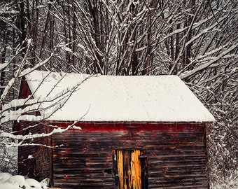 Landscape Print, Rustic Home Decor, Fine Art Photography, Barn Photograph, Adirondack Photo, Winter Picture, Snow, Trees, Red, Brown, White