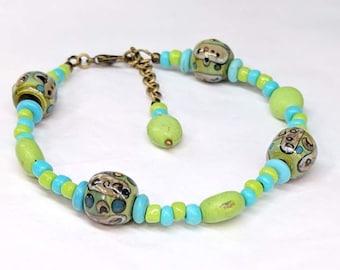 Lime Green Beaded Bracelet, Lampwork Glass Bead, Stone Bead Bracelet, Turquoise Bracelet, Bohemian Boho Jewelry, Boho Chic Bracelet