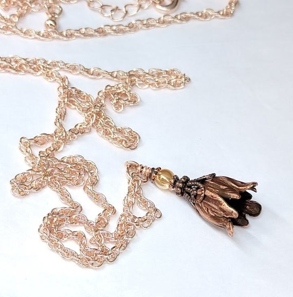 Tulip Pendant Sweater Chain Elegant Flower Long Necklace for Women Jewelry MA
