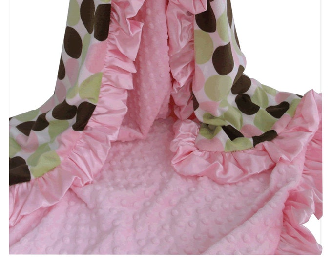 Pink and Brown Retro Dot Minky Baby Blanket, Pink Brown Polka Dot Minky Blanket for Baby Girl, Baby Girl Blanket