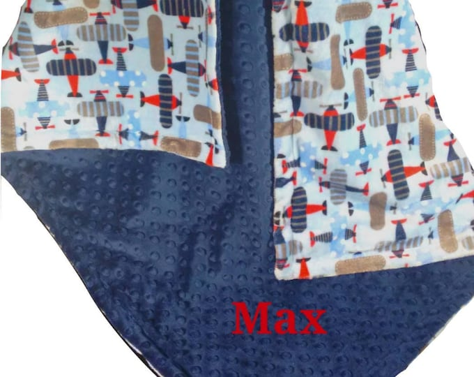 Personalized Airplanes Navy, Red and Gray Minky Dot Blanket, Navy and Gray Minky Baby Blanket, Monogrammed Baby Boy gift