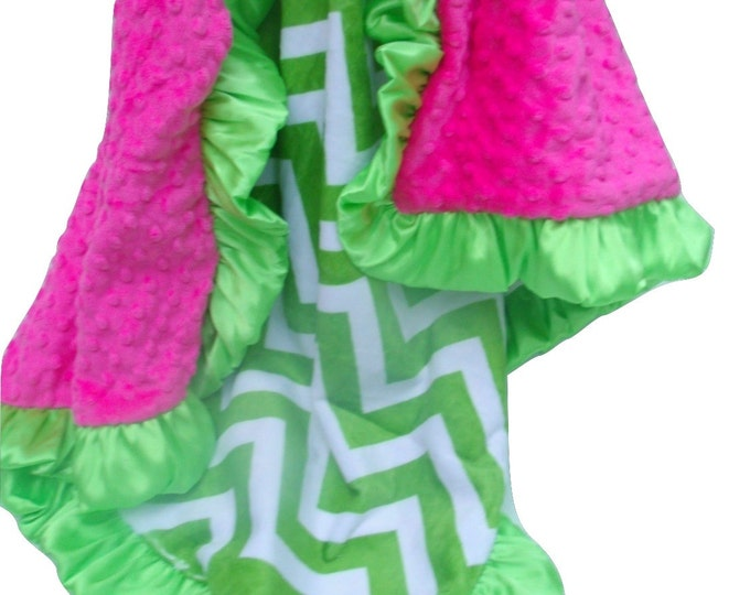 Apple Green Chevron Minky Blanket with Fuchsia, for baby, toddler, teen, or adult