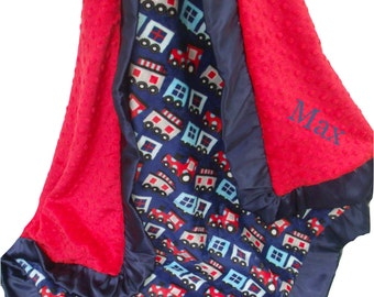 Navy and Red Train Print Minky Baby Blanket with Satin Ruffle