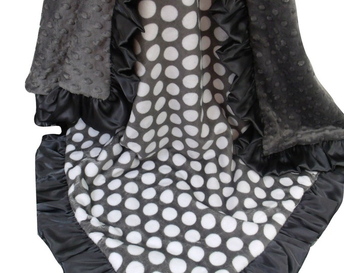 Ash Charcoal Gray Minky Baby Blanket, Dark Ash Gray Minky Blanket,  White and Gray Polka Dot Blanket