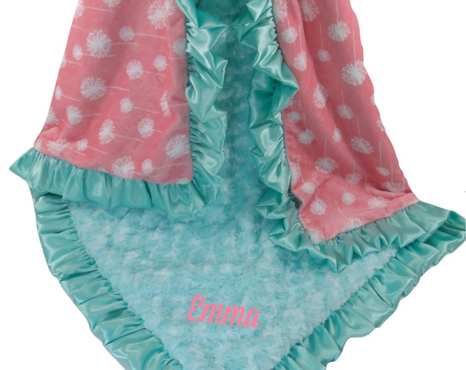 Coral Dandelion Minky Baby Blanket with Saltwater Rose Swirl, Salmon Pink and Blue Green Baby Blanket available in three sizes