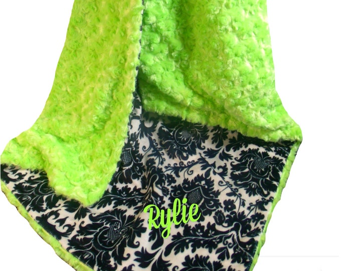 Green and Black Damask Minky Baby Blanket, Kiwi Rose Swirl Baby Blanket, Black and Lime Minky Blanket, Lime Minky Dimple Dot, Personalized