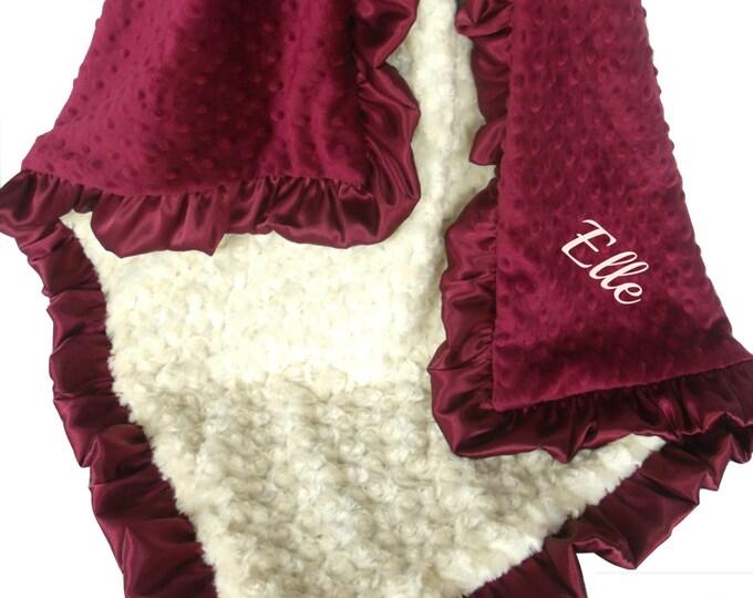 Burgundy with Cream  Rose Swirl Minky Blanket, Crimson Scarlet Minky Baby Blanket, available in three sizes