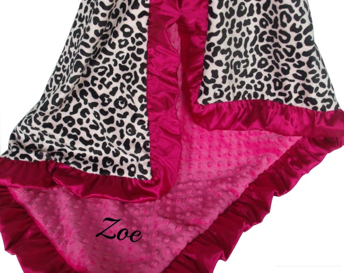 Minky Baby Blanket in Black and Fuschia Pink Leopard Animal Print, 3 sizes