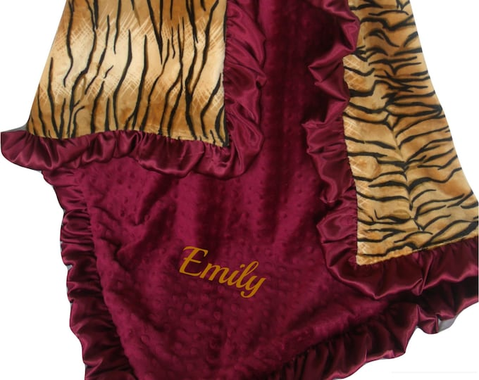 Burgundy and Gold Tiger Baby Blanket Burgundy Ruffle, Wine and Tiger Print Baby Blanket, available in three sizes