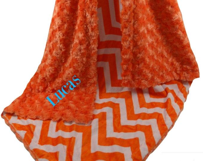 Orange Chevron with Orange  Rose Swirl Baby Blanket, Orange Chevron  Baby Blanket, , three sizes