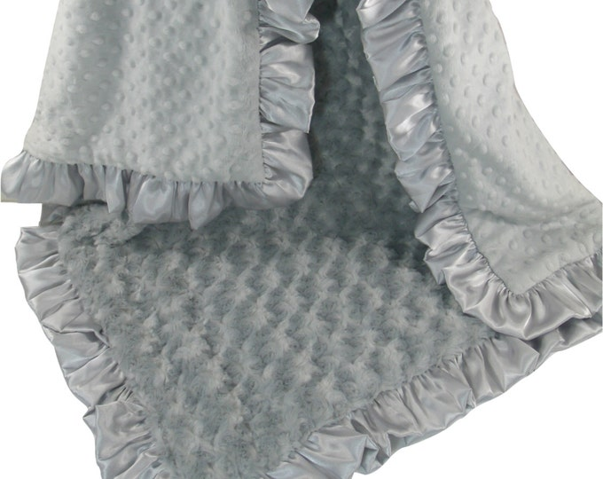 Silver Gray Minky Dot and Rose Swirl Baby Blanket, 3 sizes