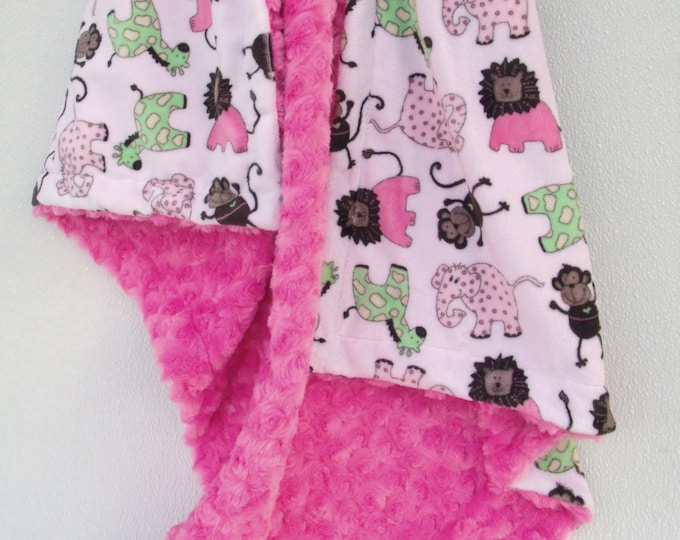Minky Baby Blanket, Personalized Blanket, Girl Jungle Blanket, Embroidered Blanket, Pink Brown Blanket, Woodland Animals , Pink Girl Blanket