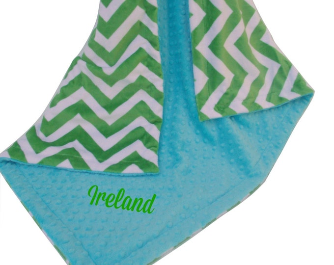 Lime Green Chevron With Aqua Turquoise Minky Baby Blanket, Green and Turquoise Chevron Blanket
