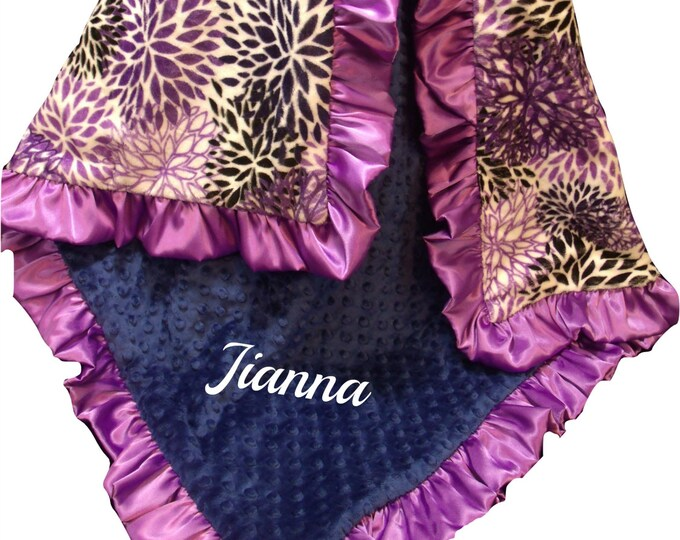 Embroidered Personalized Baby Blanket, Purple Baby Girl Blanket, Floral Baby Blanket, Lavender Swaddle Blanket