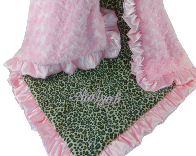 Pink Cheetah Minky Blanket Baby Blanket, Pink Minky Swirl, Satin Ruffle, Blanket, available in three sizes