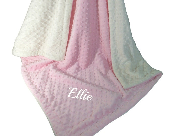 Pink Minky Dot Baby Blanket, Pink and Cream Minky Baby Blanket,