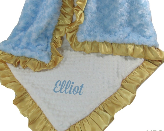 Blue and Gold Minky Baby Blanket, Blue and Gold Nursery Baby Bedding, baby Blanket