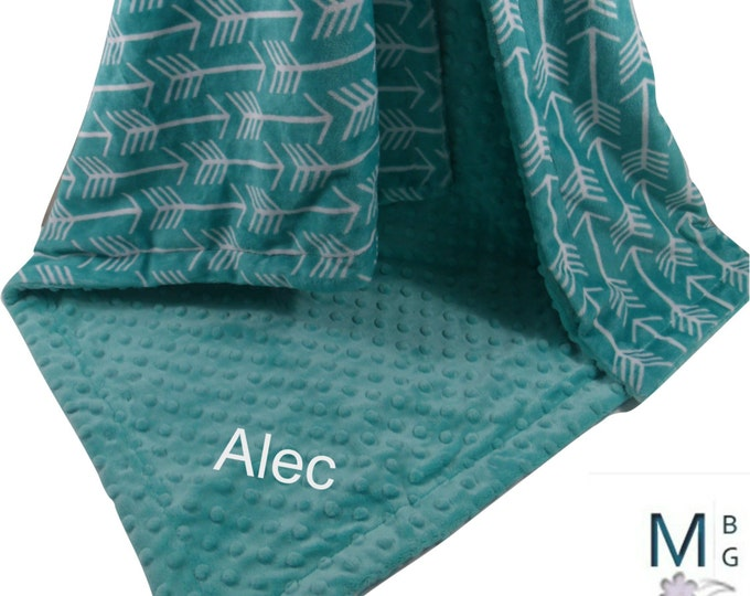 Teal Green Arrow Print with Matching Minky Dot Minky Baby Blanket, available in three sizes