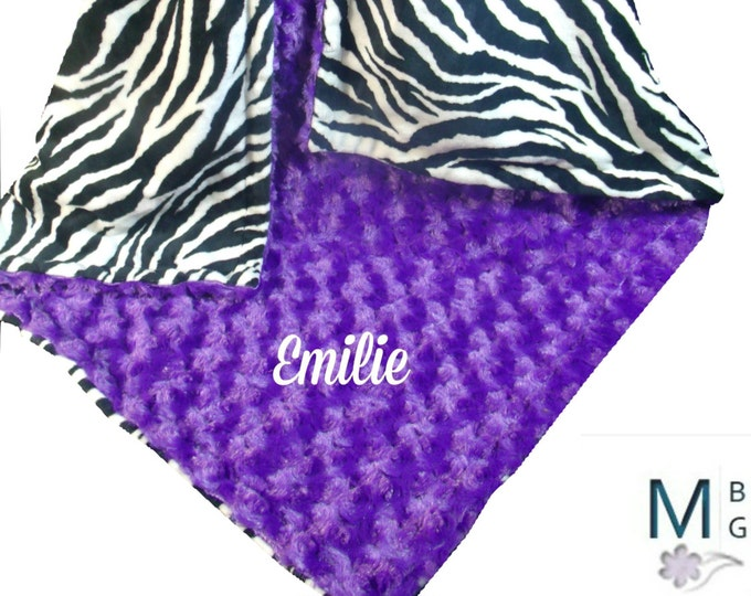 Purple Rose Swirl and Zebra Print Minky Dot Baby Blanket, available in three sizes