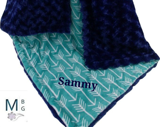 Teal Green Arrow Print with Midnight Navy Rose Swirl Minky Baby Blanket, available in three sizes