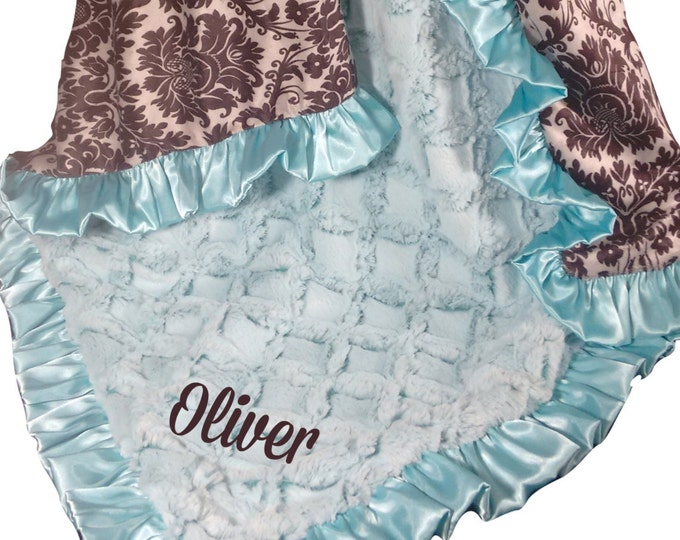 Saltwater Pool Green and Black and Gray Damask Minky Baby Blanket No Personalization available