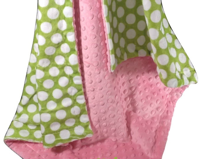 Hot Pink Minky Dot with Lime Green and White Polka Dots for baby, Lime and Pink Baby Blanket, available in three sizes