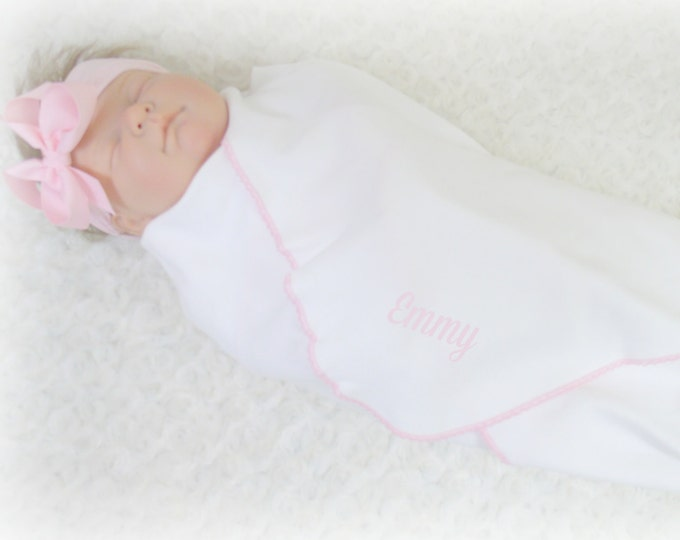 White Cotton Knit Swaddle Blanket with Matching Headband or Personalized Hat, Many Colors, Embroidered Cotton Baby Blanket