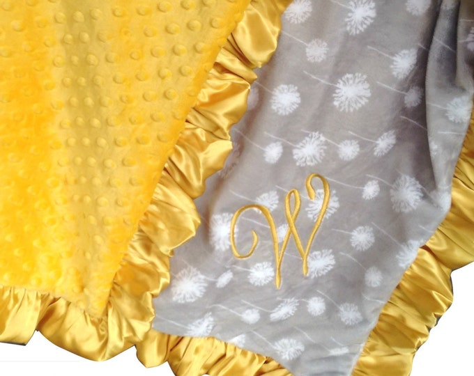 Yellow and Gray Minky Blanket, Gray Dandelion Print - Crib Blanket, Baby Blanket, or Lovey in Yellow and Gray