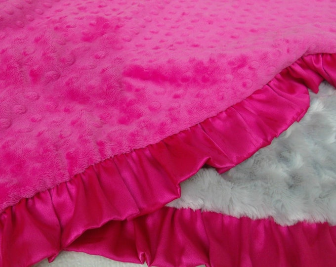Bright Pink and Gray Minky Baby Blanket - Fuchsia Dot Silver Swirl Minky
