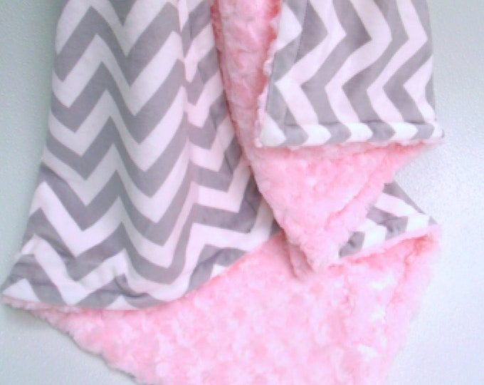 Pink and Gray Chevron Blanket, Pink Gray Swaddle Blanket, Pink Chevron Minky Blanket, Chevron Swaddle Blanket