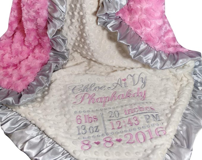 Embroidered Birth Square Blanket, Hot Pink Gray Cream and Minky Blanket, Custom Swaddle Baby Wrap
