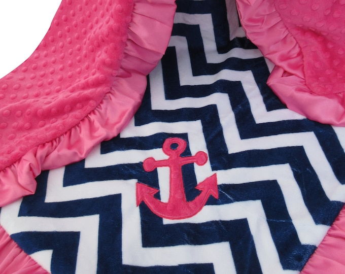 Anchor Applique Pink and Navy Chevron Minky Minky Baby Blanket, Nautical Baby Girl Blanket, Baby Girl Blanket