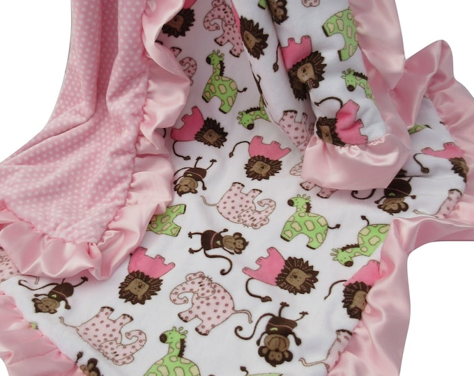 Pink Brown Woodland Animal Minky Baby Blanket Jungle Print, In Stock Ready to Ship