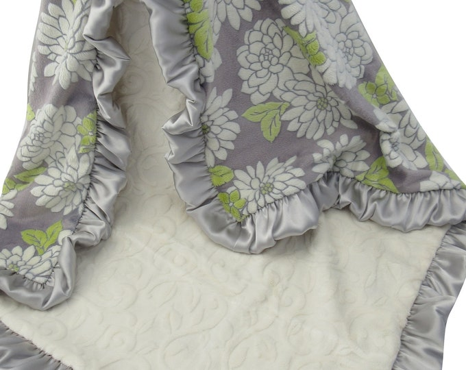 Chartreuse Yellow and Gray Minky Baby Blanket, Yellow Floral and Gray Swaddle Blanket In Stock, Ready to Ship 12