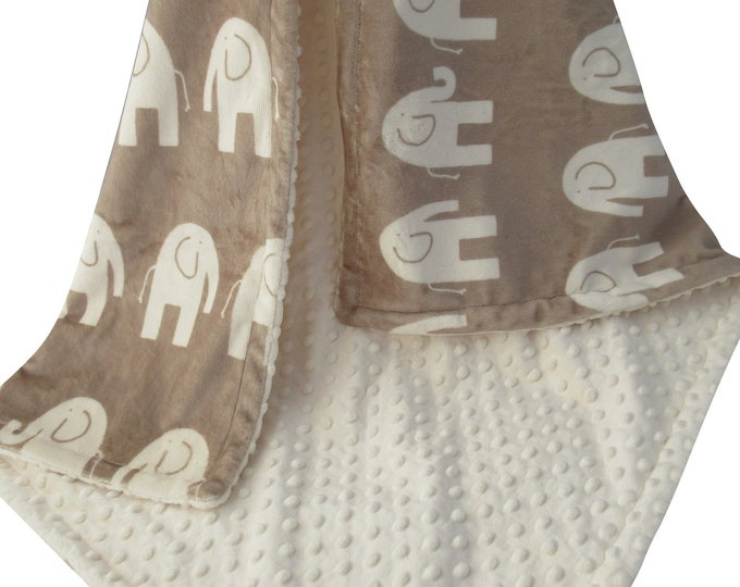 Biscuit Tan Elephant Minky Baby Blanket, Woodland Animals Jungle Baby Blanket, In Stock Ready to Ship