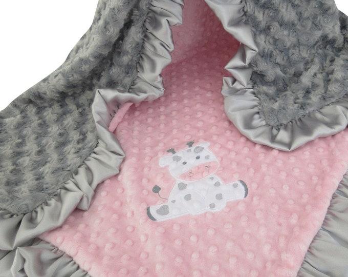 Applique Baby Pink and Gray Rosebud Swirl Minky Minky Baby Blanket, Baby Girl Blanket