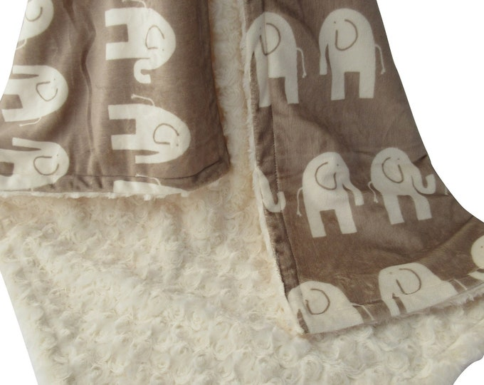 Elephant Minky Baby Blanket Tan and Cream, Woodland Animals Jungle Baby Blanket, In Stock Ready to Ship