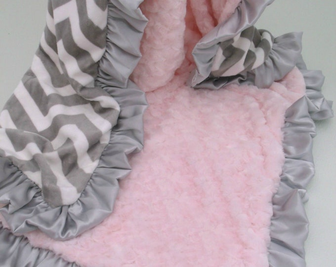 Grey and White Chevron Minky with Pink Swirl Blanket