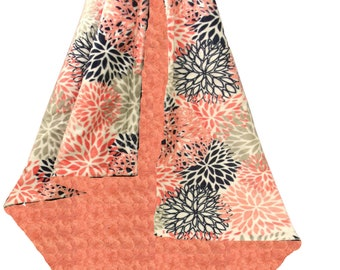 Navy and Coral Floral Baby Girl Minky Baby Blanket