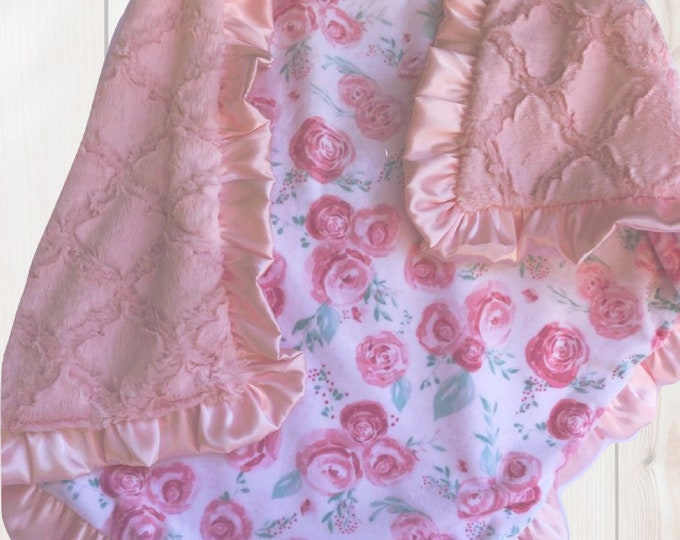 Soft Pink and Mint Rose Floral Minky Baby Blanket With a Matching Pink Ruffle, In Stock Ready to Ship