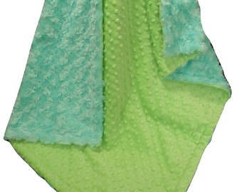 Robin's Egg Blue and Saltwater Minky Baby Blanket